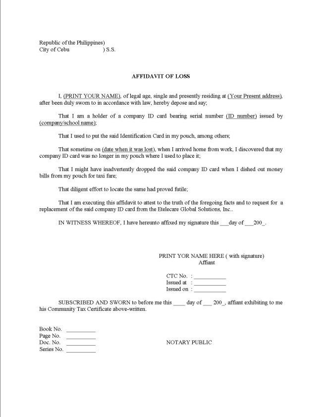 Perfect Affidavit of Loss Example with Statement and Personal ...