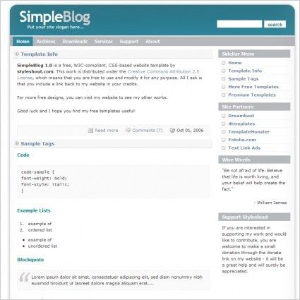 Simple Blog 1.0 Template Free website templates in css, html, js ...