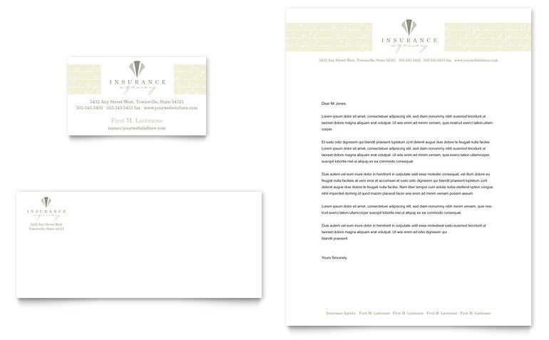 Life & Auto Insurance Company Business Card & Letterhead Template ...