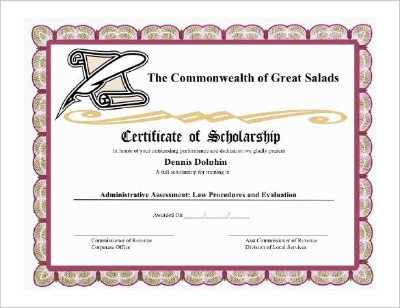 8+ Scholarship Certificate Templates – Free Word, PDF Format ...