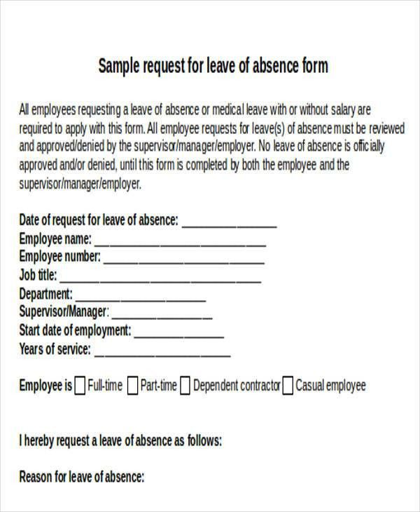 Sick leave request form template – Brian