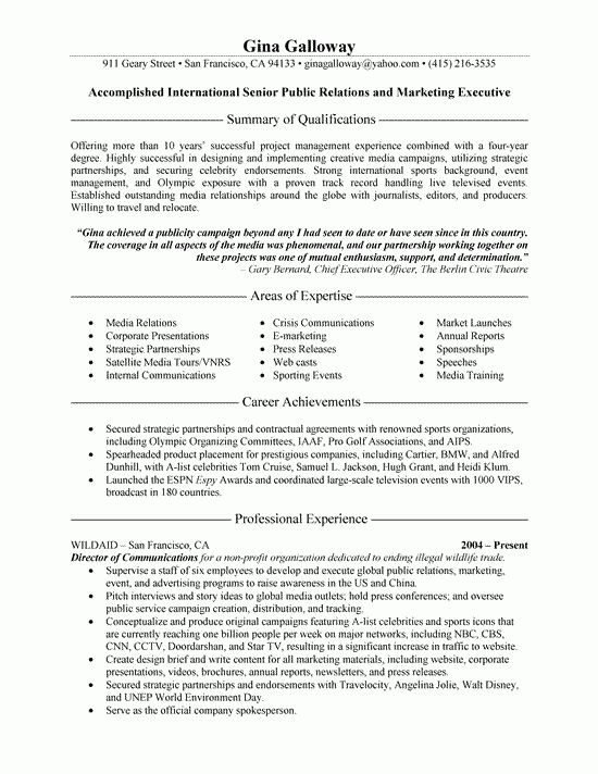 Relations Executive Resume Example