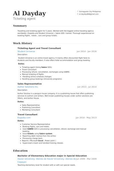 Asesor De Viajes Ejemplo de currículum - Base de datos de VisualCV ...