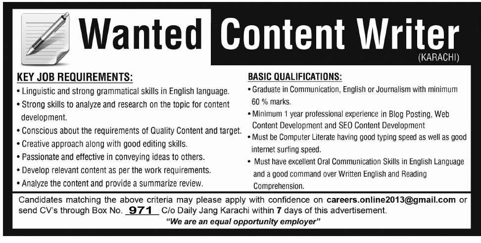 Content Writer Job in Karachi, Creative writer required