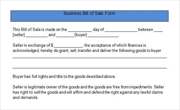 Sample Business Bill of Sale Form - 6+ Free Documents in PDF, Word