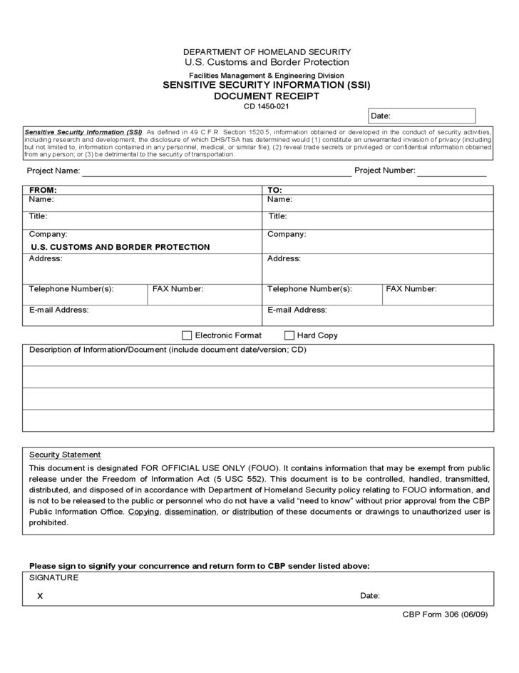 CBP Form 306 - Sensitive Security Information (SSI) Document ...