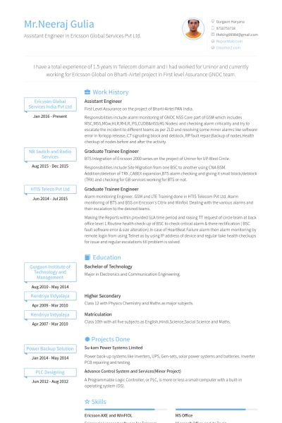 Assistant Engineer Resume samples - VisualCV resume samples database