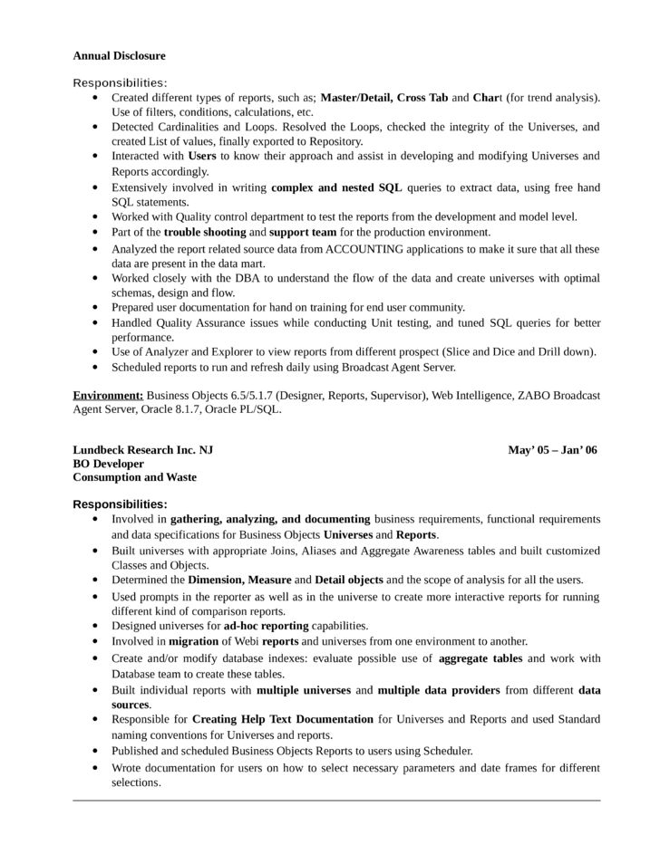 Top 8 Business Objects Developer Resume Samples In This File You ...