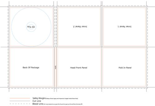 CD Digi Case 6 Panel Template (Tray Right) 1 Spine