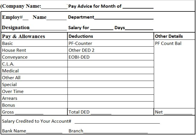 Efficient Template Example of Salary Slip with Table Format of Pay ...