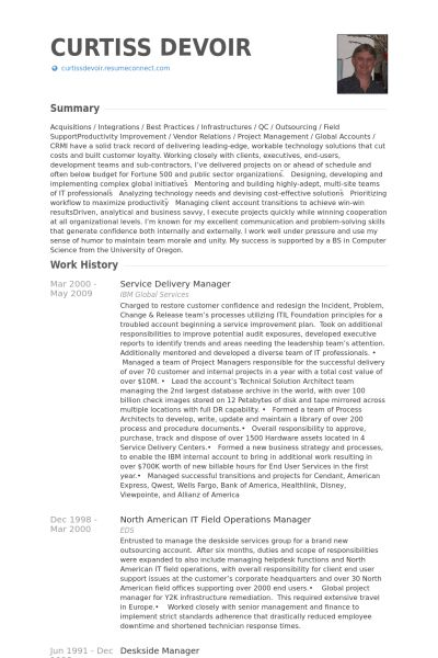 It Service Delivery Manager Resume Sample (5) | Media Templates