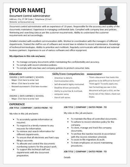 Document Control Administrator Resumes for MS Word | Resume Templates