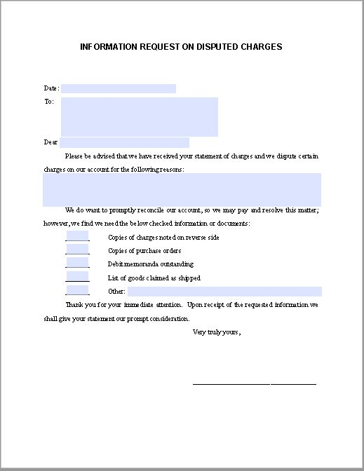 Sample Request Letter on Disputed Charges | Free Fillable PDF Forms