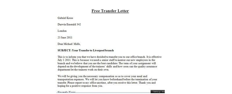 Transfer Letter| Writing steps, Sample letter - EnkiVillage