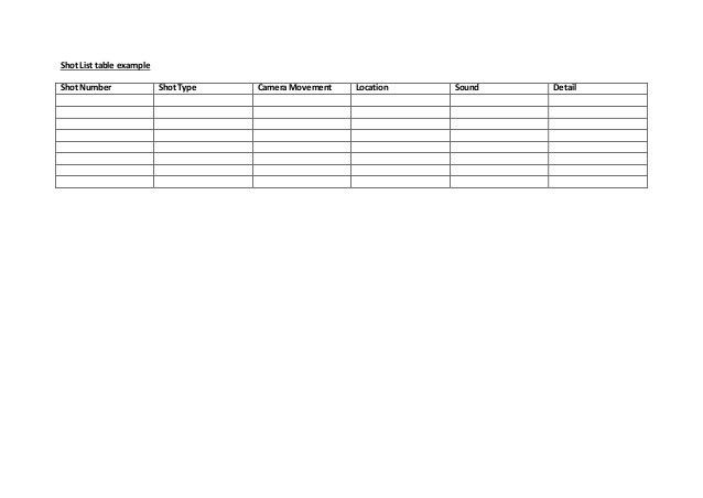 Example production schedule and shot list