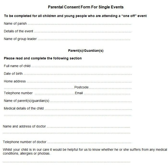 Sample Parental Consent Form | Free & Premium Templates