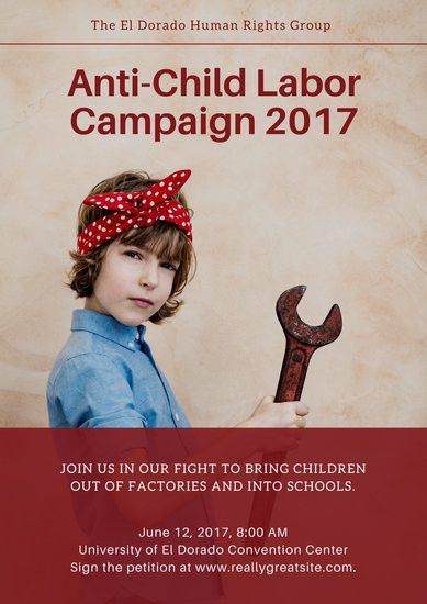 Brown and Red Girl Wrench World Day Against Child Labour Poster ...
