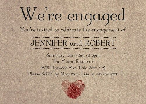 romantic fingerprint rustic engagement party invitation cards ...