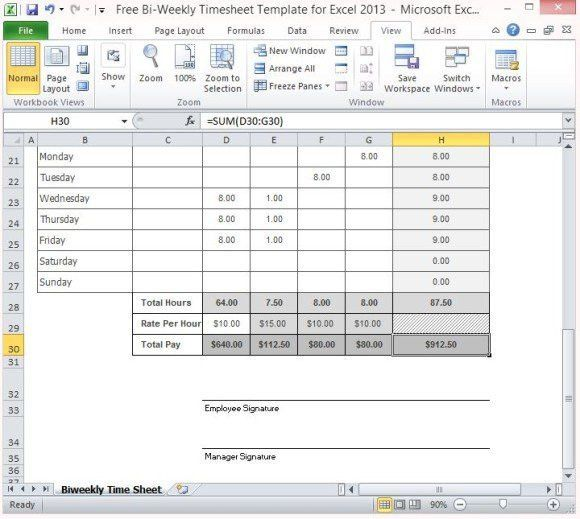 Excel Timesheet Template With Formulas | Template Design