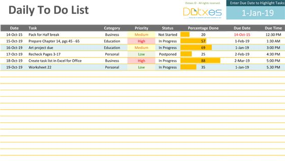 Daily to do list template - Dotxes