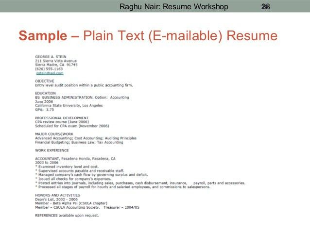 text resume template plain text resume format ...
