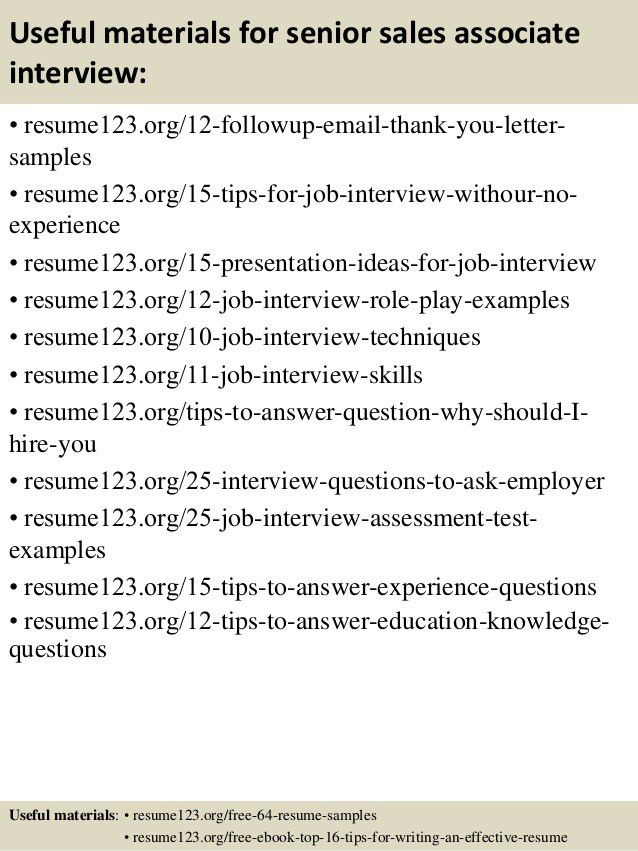 Top 8 senior sales associate resume samples