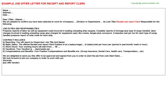 Receipt And Report Clerk Offer Letter