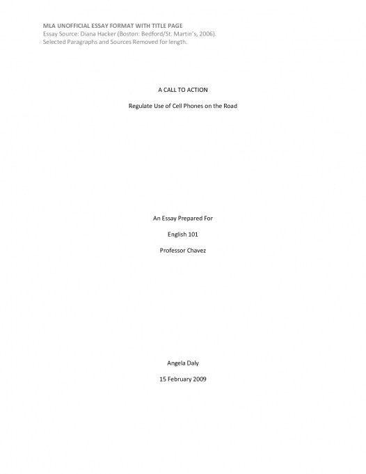 Essay Front Page Format 3 Mla Sample Paper. MLA Format Sample ...
