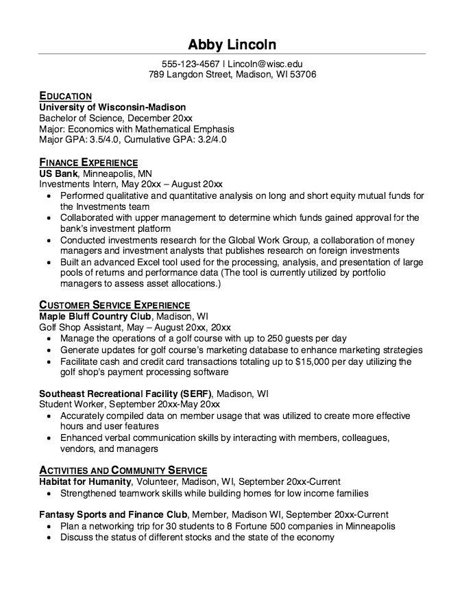 Resume for Golf Shop Assistant - http://resumesdesign.com/resume ...