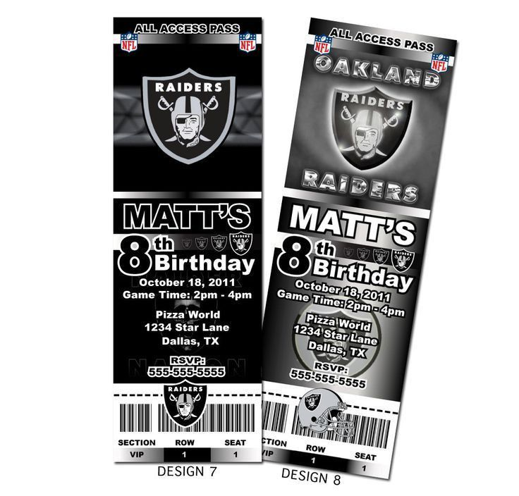 Oakland Raiders NFL Custom Party Ticket Invitations by KVinvites ...