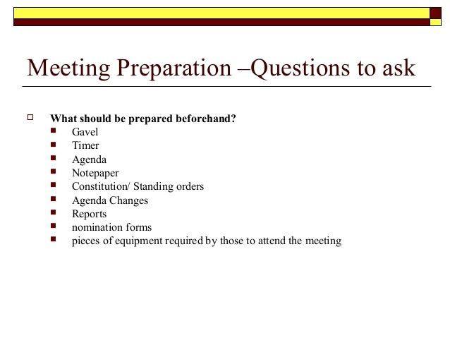Meeting procedures