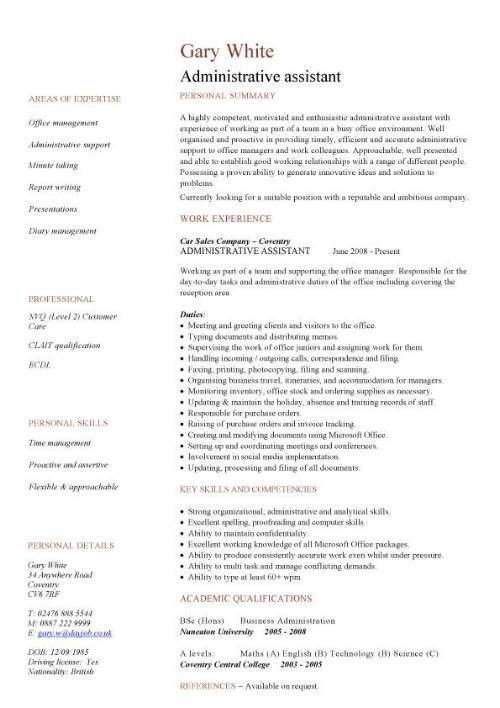 Administrative assistant CV sample, planning and organizing ...