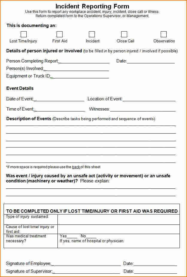 8+ Incident Report Form Template | Printable Receipt