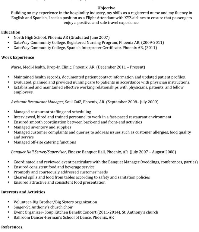 Awesome Inspiration Ideas Entry Level Flight Attendant Resume 2 ...