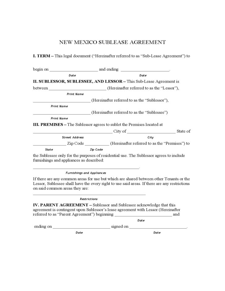 New Mexico Sublet Agreement Form Free Download