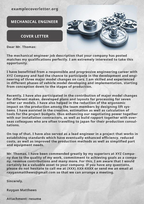 Mechanical Engineer Cover Letter Example | Example Cover Letter
