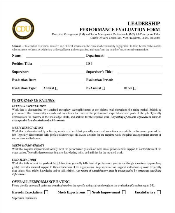 Sample Performance Appraisal Forms - 12+ Free Documents in PDF, Word