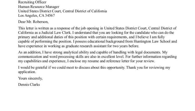 judicial law clerk cover letter sample for internship no ...