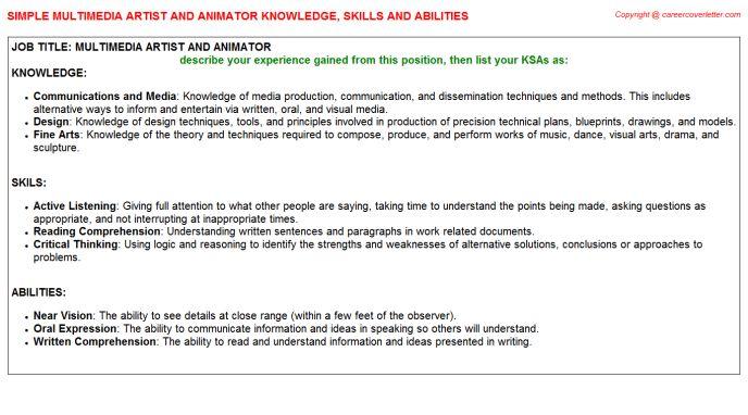 Multimedia Artist And Animator Knowledge & Skills