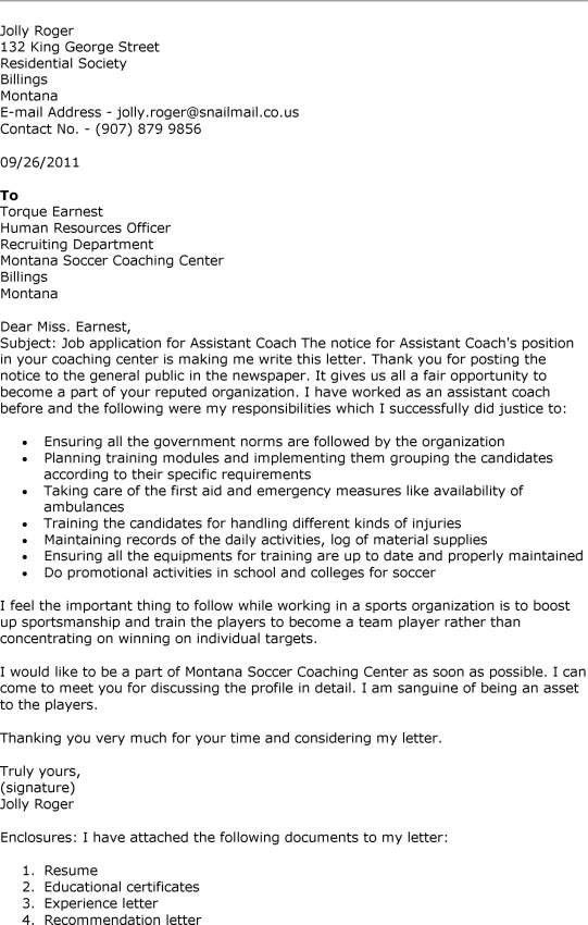 Hockey Coach Cover Letter