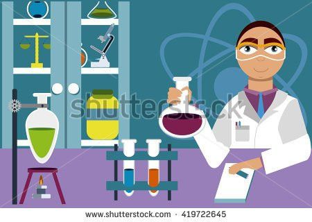 Chemistry Banner Concept Flat Style Scientist Stock Vector ...