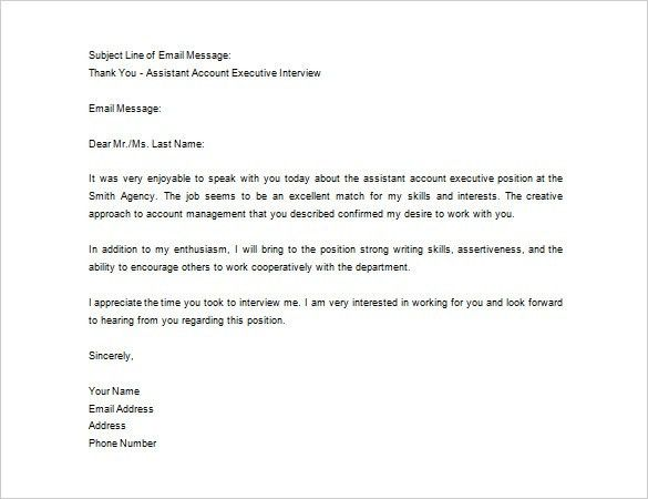 Thank You Letter After Job Interview – 10+ Free Sample, Example ...