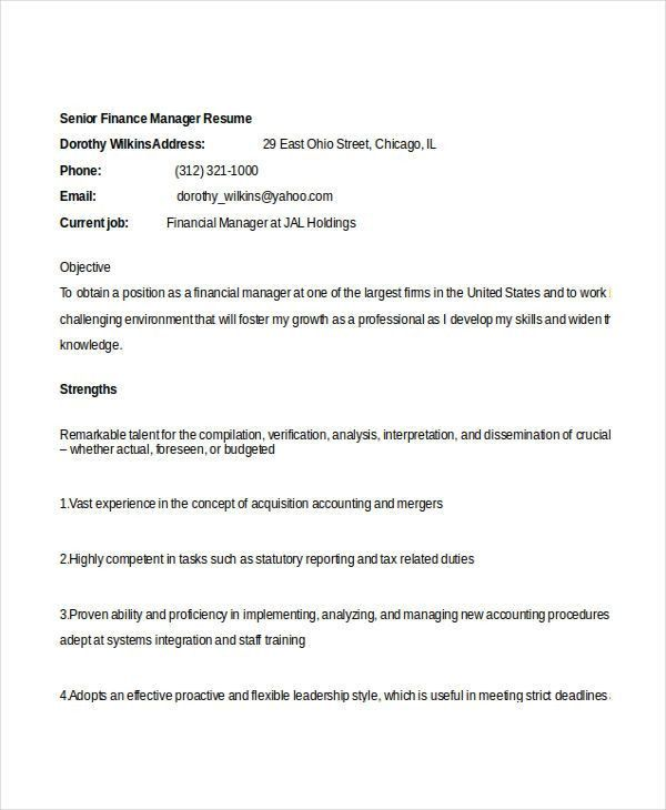 Financial Manager Resume Finance Manager Resume Cv Example Sample