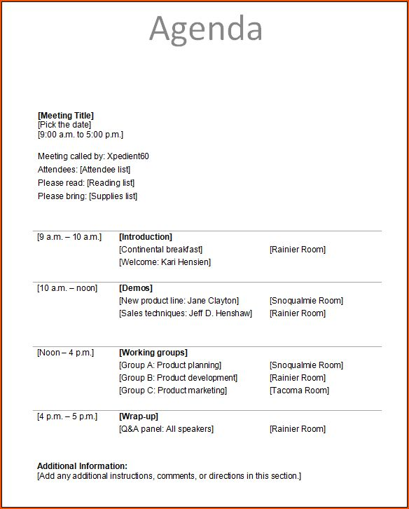 4+ meeting itinerary template - bookletemplate.org