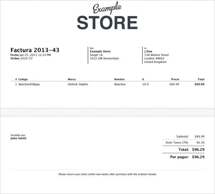 Commercial Invoice In Spanish | printable invoice template
