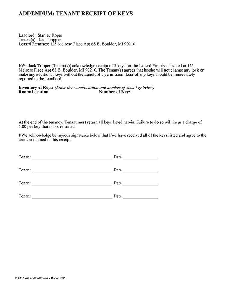 Tenant Receipt Of Key(s) | EZ Landlord Forms