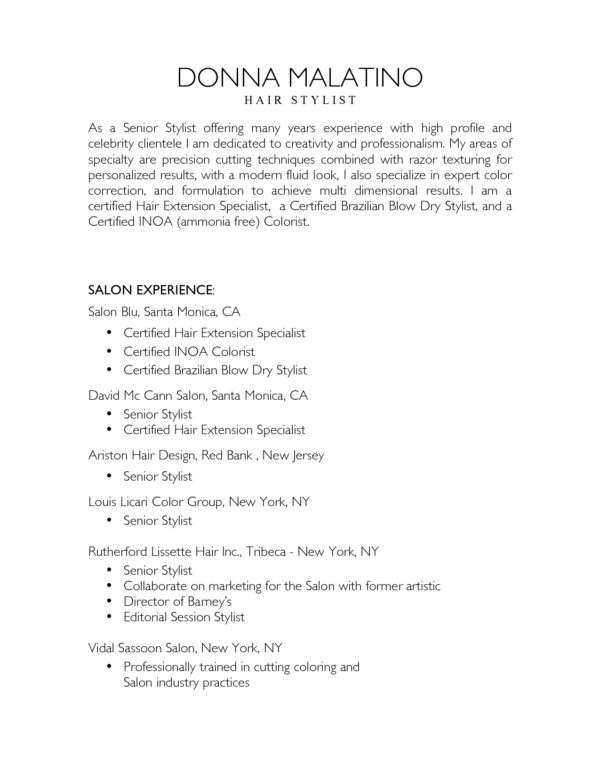 Nice Salon and Hair Stylist Resume Sample with List of Work ...
