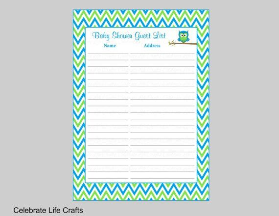 Baby Shower Guest List Printable Sign in Sheet with Address