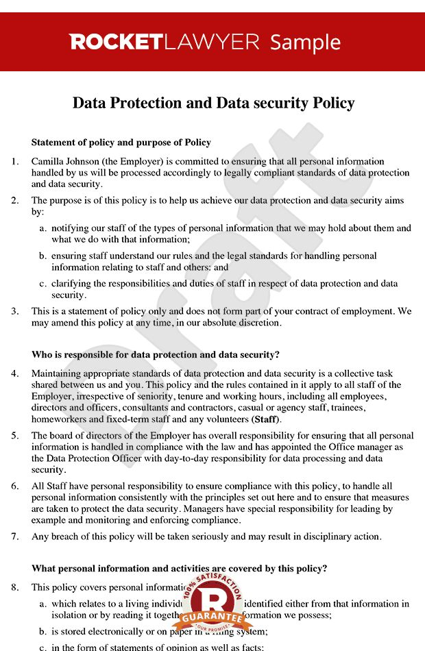 Protection Policy - Data Security Policy - Data Protection Policy ...
