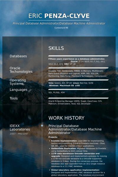 Database Administrator Resume samples - VisualCV resume samples ...